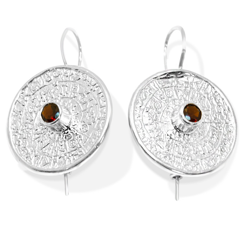 Unique Mayan Calendar Sterling Silver Earrings With Bohemian Garnet