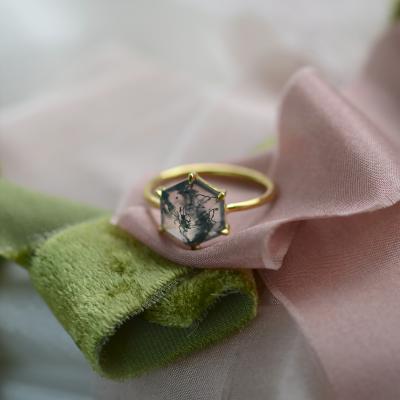 Zlatý prsten s mechový achátem ELIONOR