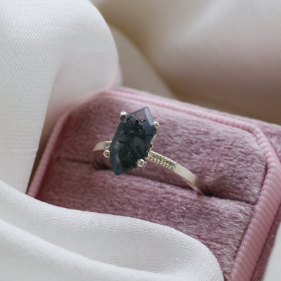 Gold diamond ring with moss agate ROXANE