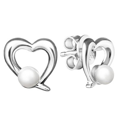 Stříbrné srdíčkové náušnice s perlami RANKI