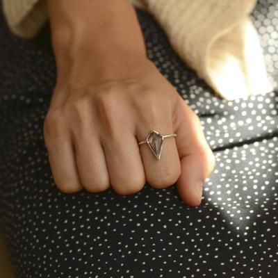 Gold ring with rutile quartz BUNO