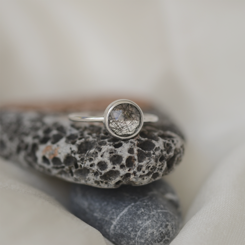 Gold ring with rutile quartz GRANADA