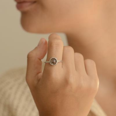 Gold ring with rutile quartz GRANADA