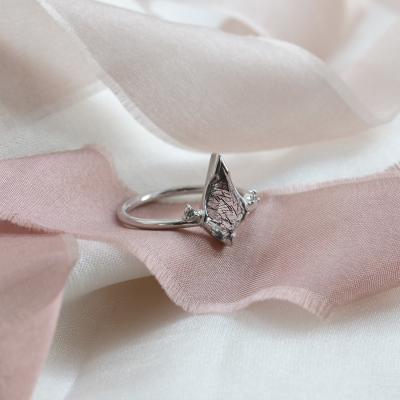 Minimalist ring with rutil quartz and diamonds KIRA