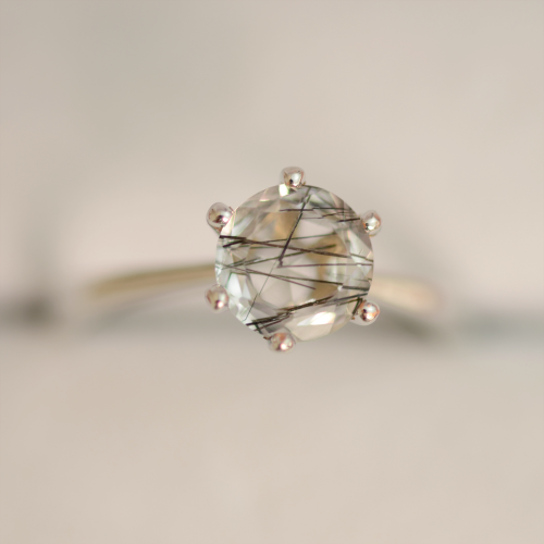 Rutile quartz gold ring STAIM