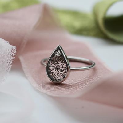 Gold ring with rutile quartz UBEDA