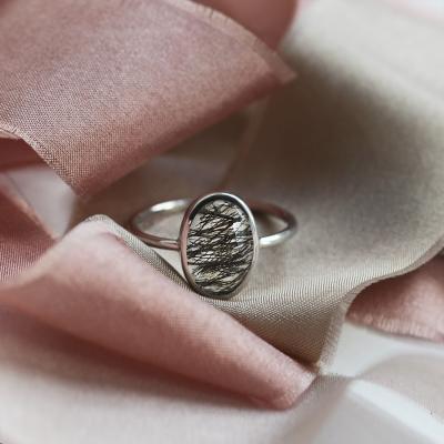 Zlatý minimalistický prsten s rutil quartzem VALENCIA