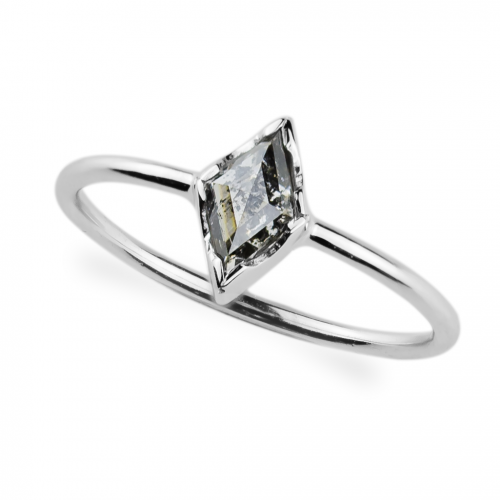 CARMEL gold ring with salt and pepper diamond 0.55 ct