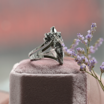 Set gold rings with salt and pepper diamond FIERA