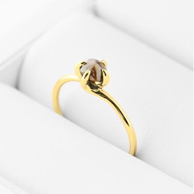 FIONA yellow raw diamond 0.63 Ct.  gold ring