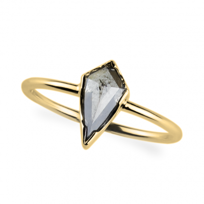 FREDA gold ring with salt and pepper diamond 0.76 ct
