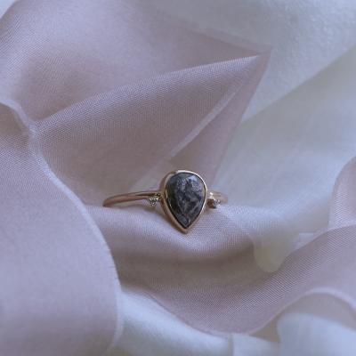 Gold salt and pepper diamond ring with side diamonds KERRI