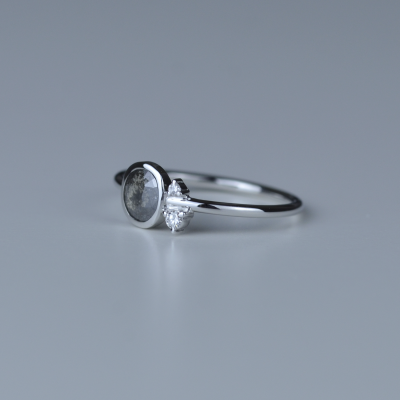 MELISSA gold ring with salt and pepper diamond 0.43ct