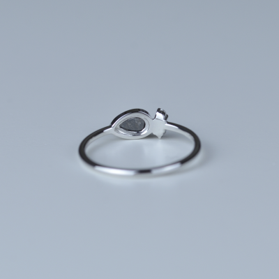NANCY gold ring with salt and pepper diamond 0.32ct