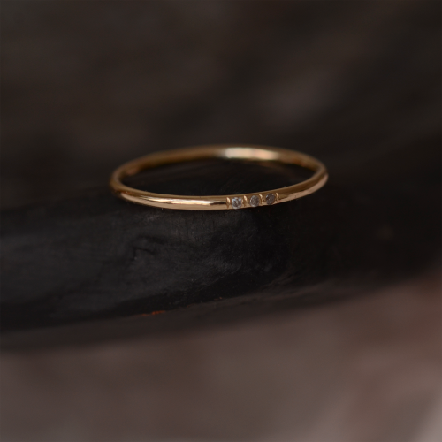 Gold minimalist ring with salt and pepper diamonds OLU
