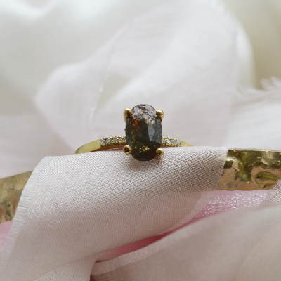 Gold ring with oval cut salt and pepper diamond and side diamonds ROXANE