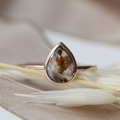 Gold ring with salt and pepper diamond 0.69ct XENIA