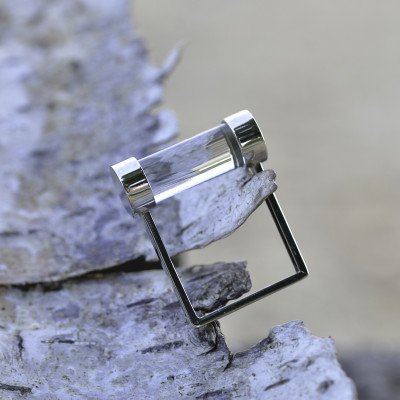 Exclusive Fuse Sterling Silver ring with Light Rhinestone