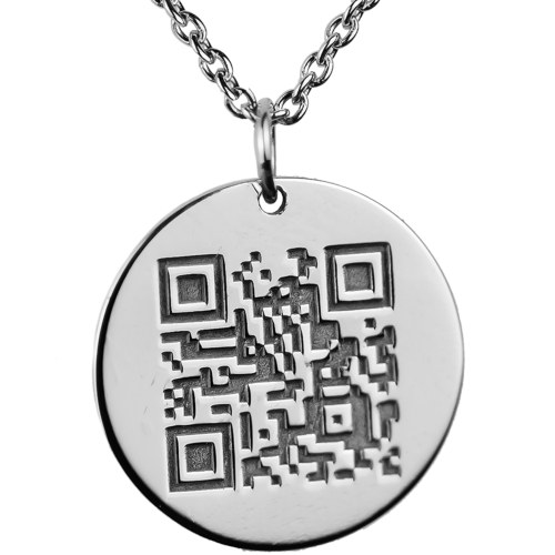 Pendant with encrypted QR-code + engraving on the opposite side