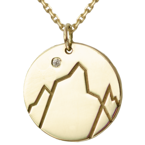 Gold pendant with a diamond EVEREST