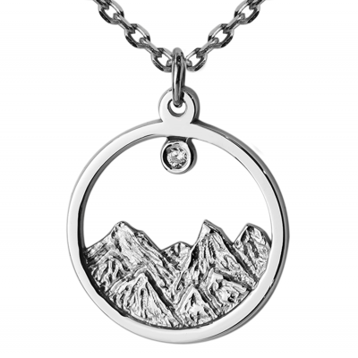 Silver pendant with a diamond EVEREST
