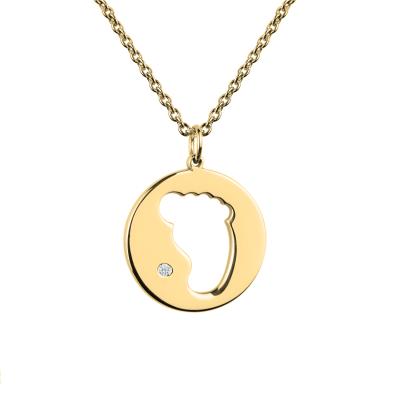 EllA gold diamond pendant with baby foot trace