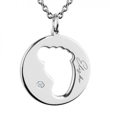 Přívěsek ve tvaru dětské stopy EllA s diamantem