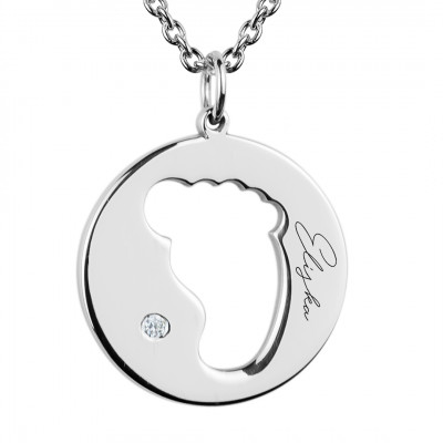 EllA silver diamond pendant with baby foot trace