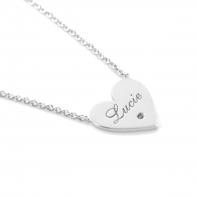 JENI gold diamond pendant with your name carved on