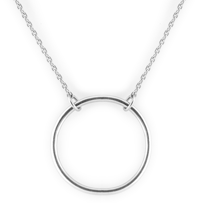 Minimalist silver necklace with a circle KARMA