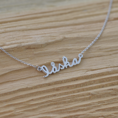 Silver necklace with diamond LASKA