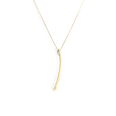 Gold minimalist necklace with a diamond LOFE