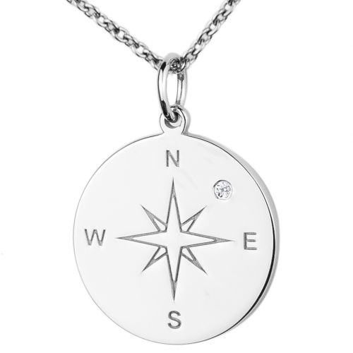 Silver pendant with a compass and a diamond MAP