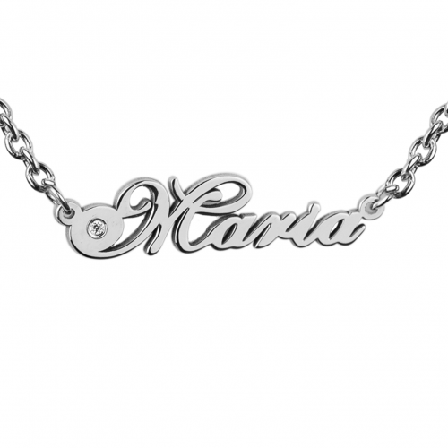 Name silver necklace with diamond MARI
