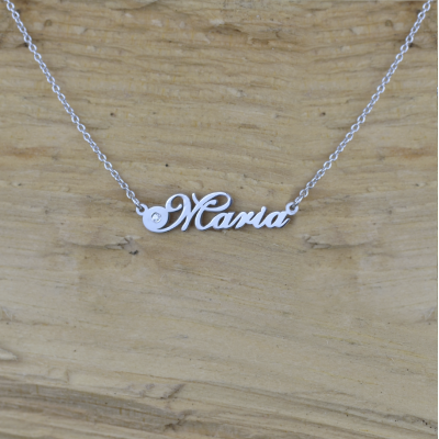 Name silver necklace with diamond MARI