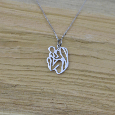Unique sterling silver pendant Mother and child MOMMY