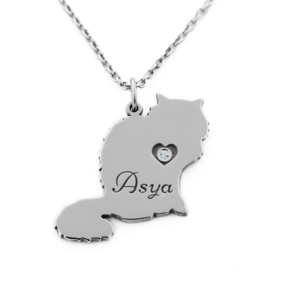 MUYA cat shape silver pendant