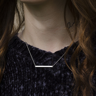 Silver Necklace in minimalist style with any engraving OSA