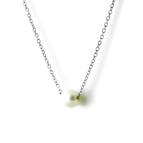 Silver necklace with white pearl - PEARE
