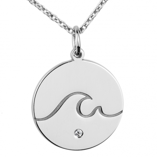 Silver pendant with a diamond SURF