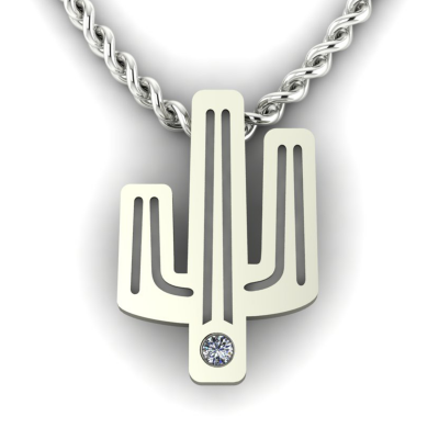 Authentic golden pendant with a cactus shape with TINA diamond