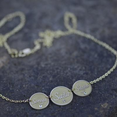 Custom necklace with diamonds UNA