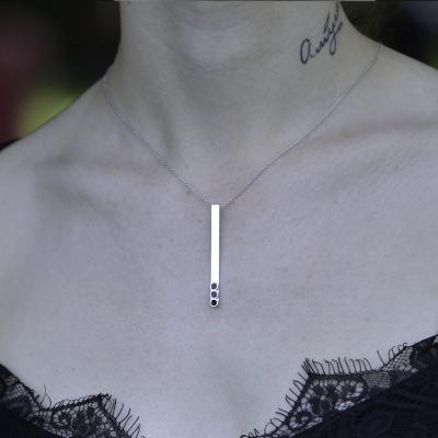 Sterling silver enamel bar necklace VAVEN
