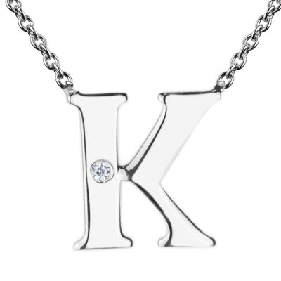 Stříbrný náhrdelník s písmenkem a diamantem VERTE