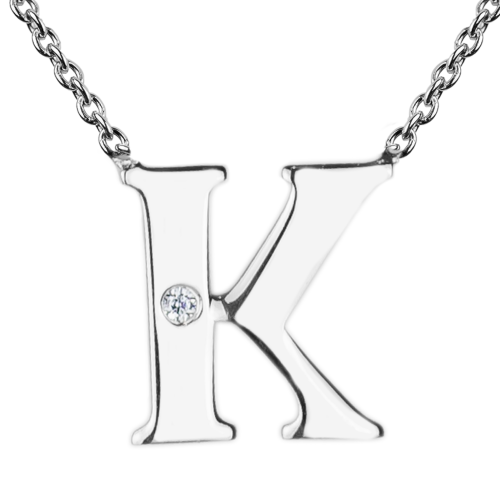 VERTE Name silver diamond pendant
