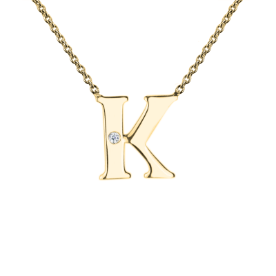 VERTE Name gold diamond pendant