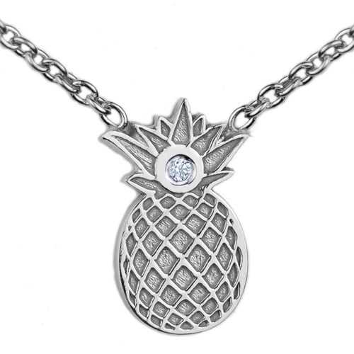 Authentic silver pendant with a pineapple shape with VINI diamond