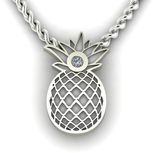 Authentic golden pendant with a pineapple shape with VINI diamond