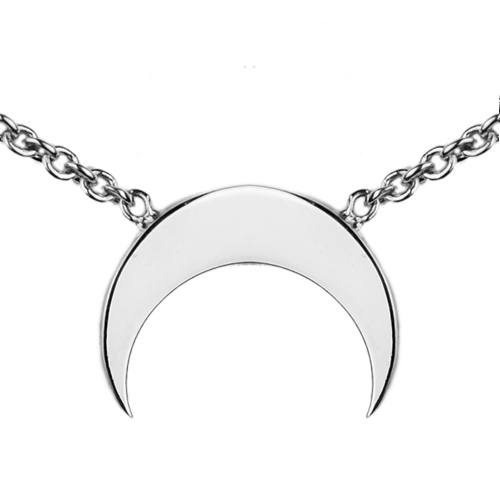 VITKE crescent-shape silver necklace