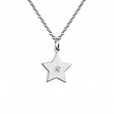 VIVIAN Silver star pendant with a diamond
